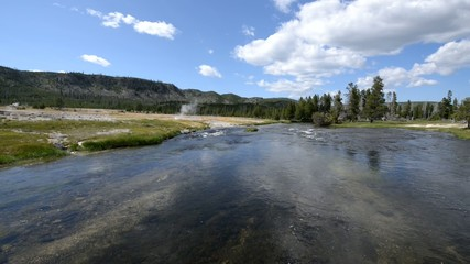 Wide angle shot of Firehole River Yellowstone National Park