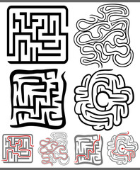 mazes or labyrinths diagrams set