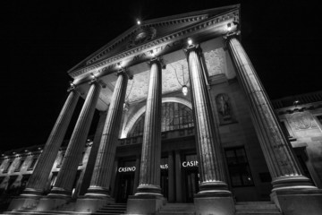 kurhaus in wiesbaden germany at night in black and white