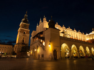 Sukiennice and Town Hall Tower in Krakow by night