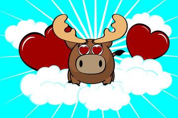 reindeer ball cute cartoon background2