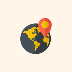 Earth. Travel Flat Icon