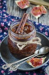 Fig jam in a glass jar