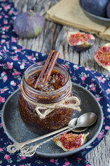 Fig jam in a glass jar