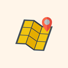 Map. Travel Flat Icon