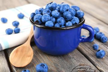 Fresh blueberries on wooden table
