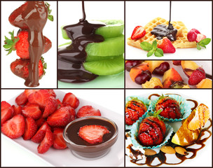 Tasty dessert collage - fruits with chocolate, close-up