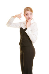 Phone. Surprised businesswoman making call me gesture