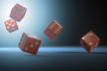 Red dices. Clipping path included.