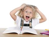 sweet little schoolgirl pulling blonde hair in stress crazy