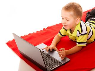Education, technology internet - little boy with laptop
