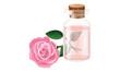 Obrazy na płótnie, fototapety, zdjęcia, fotoobrazy drukowane : Rose oil in a glass bottle