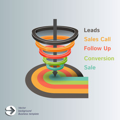 Conversion or sales funnel 3d, vector infographic template