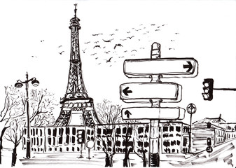 hand draw paris