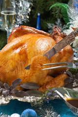 Carving Roasted Turkey for White Christmas