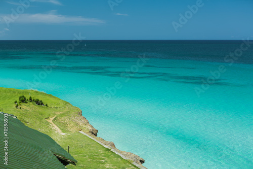 Leinwanddruck Bild Natural gorgeous view of tranquil clear waters of ocean