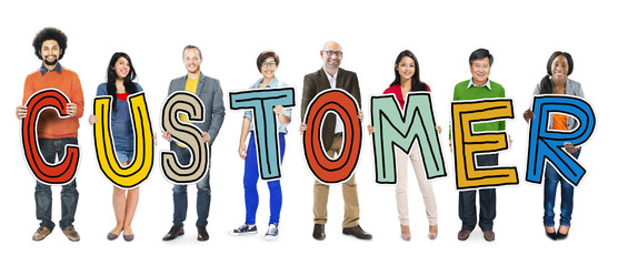 Group of People Standing Holding Word Customer