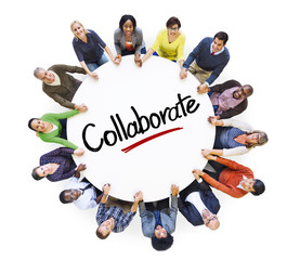 People in a Circle with Collaborate Concepts
