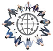 Business People Holding Hands and Globe Symbol