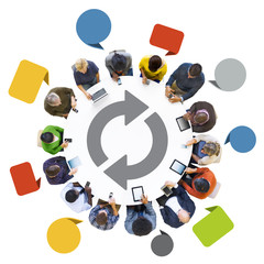 Multiethnic Group of People and Digital Devices with Speech Bubb