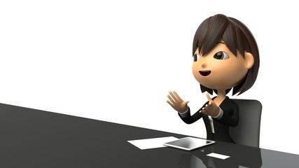 インタビューを受けて話すビジネスウーマン