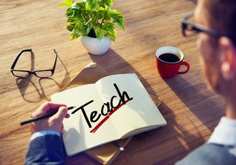 A Man Brainstorming about Teach