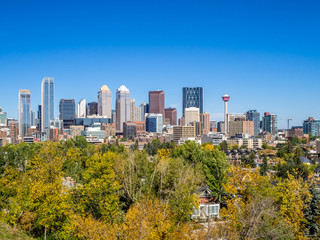 Calgary skyline from the south looking north in fall