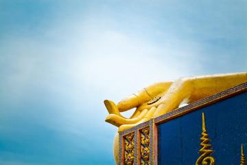 Big golden hand of buddha