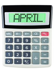Calculator with APRIL on display isolated on white background