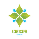 Ecosystem Concept Logo Illustration. Leaves and drops. poster