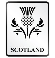 Monochrome Scotland public information sign