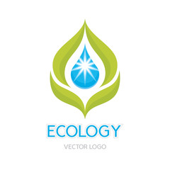 Abstract Vector Logo Template. Leaves and drop illustration.