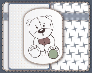 Greeting card with teddy bear toy sketch