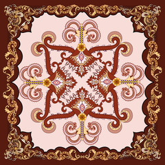 ornate floral paisley bandanna pink background with burgundy bor