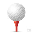 Golf ball on red tee - 70600139