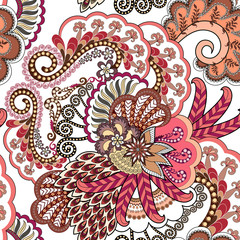 seamless decorative pattern in pink and brown palette with small