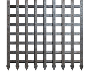 Medieval metal bars isolated