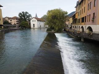 Detalle de Annecy con lluvia (Francia)