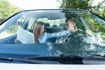 Couple arguing about wrong road