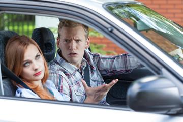 Quarrel in a car