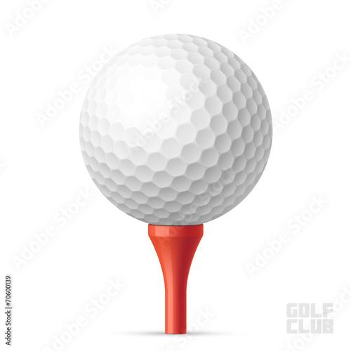 Zdjęcia na płótnie, fototapety, obrazy : Golf ball on red tee