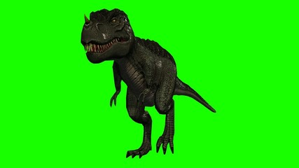 Tyrannosaurus Rex Dinosaur walks - Loopable green screen