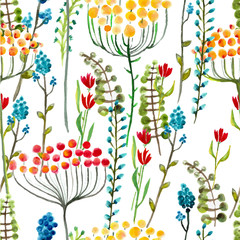 Watercolor natural seamless pattern