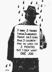 Мужчина с плакатом