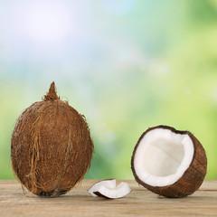 Kokosnuss Früchte im Sommer mit Textfreiraum
