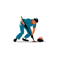Curling game vector sign