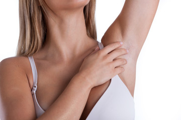Woman showing her armpit