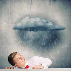 Man under rain