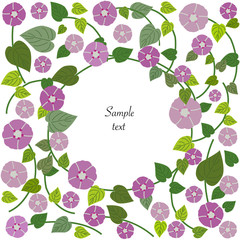 Floral background vector greeting card with spring flowers