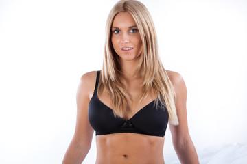 Beauty woman in black bra